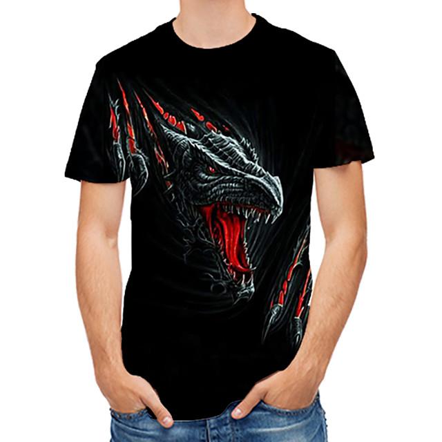 남성용 T 셔츠 3D 카툰 동물 프린트 탑스 블랙