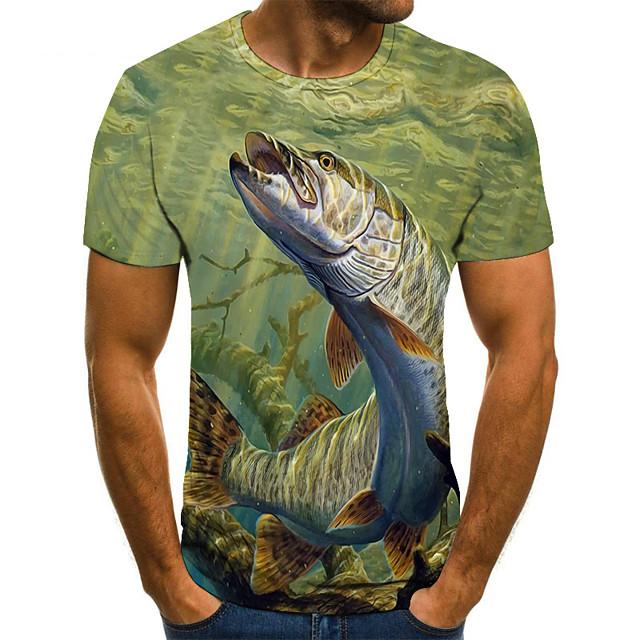 남성용 T 셔츠 컬러 블럭 3D 동물 플러스 사이즈 짧은 소매 일상 탑스 베이직 클로버