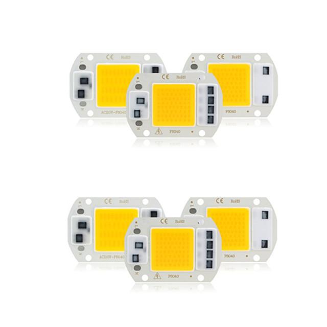 6 pcs cob led chip ac 220 v 30 w sem necessidade de driver inteligente ic led lâmpada bulbo para diy holofotes iluminação inundação