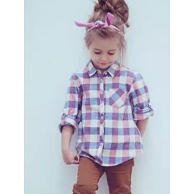 아동 여아 셔츠 긴 소매 체크무늬 어린이 탑스 베이직 퍼플
