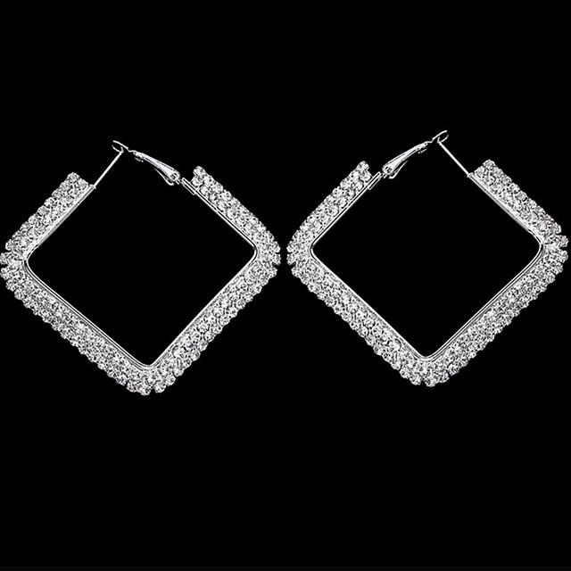 نسائي أقراط قطرة أقراط طارة حلقات هندسي أساسي أوروبي شائع موضة أنيق تقليد الماس الأقراط مجوهرات فضي من أجل عيد ميلاد مواعدة شارع مهرجان 1 زوج