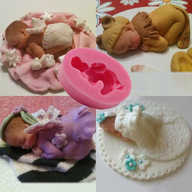 1pcs bebé durmiendo bebé fondant cake molde jalea silicona hornear herramienta diy