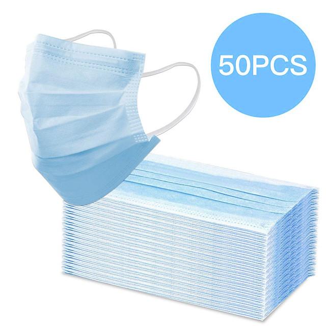 50 pz maschera bocca usa e getta proteggere 3 strati filtro antipolvere antirumore maschere bocca non tessute