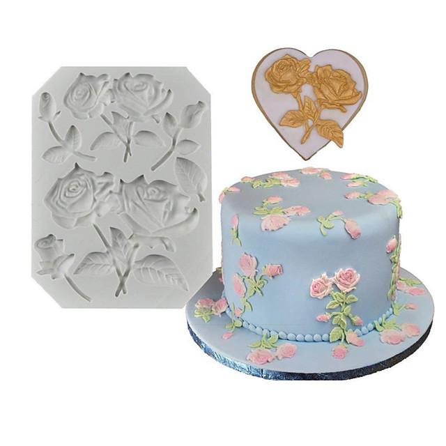 1pcs rose fondant molde de decoración de pastel de silicona diy