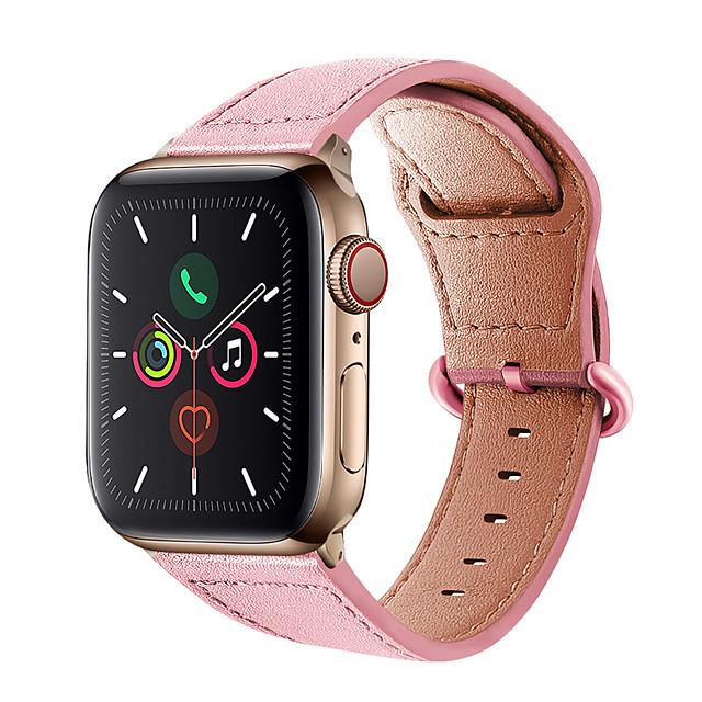 Klockarmband för Apple Watch Series 5/4/3/2/1 Apple Klassiskt spänne / Affärsband Äkta Läder Handledsrem