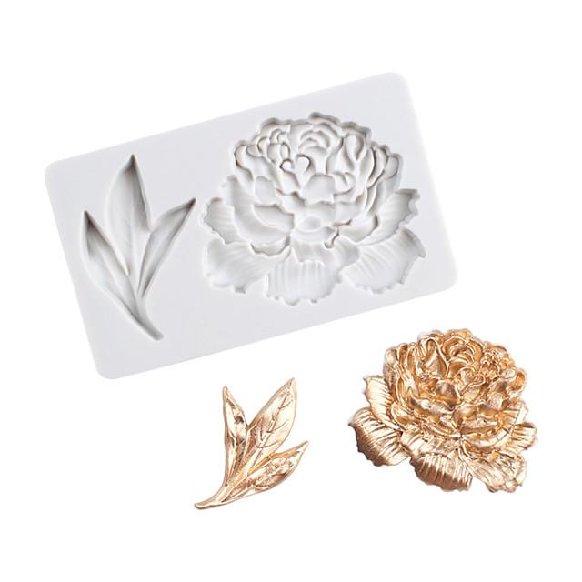 fiore di peonia foglia di peonia stampo su un lato stampo torta fondente stampo in silicone strumenti di cottura a casa