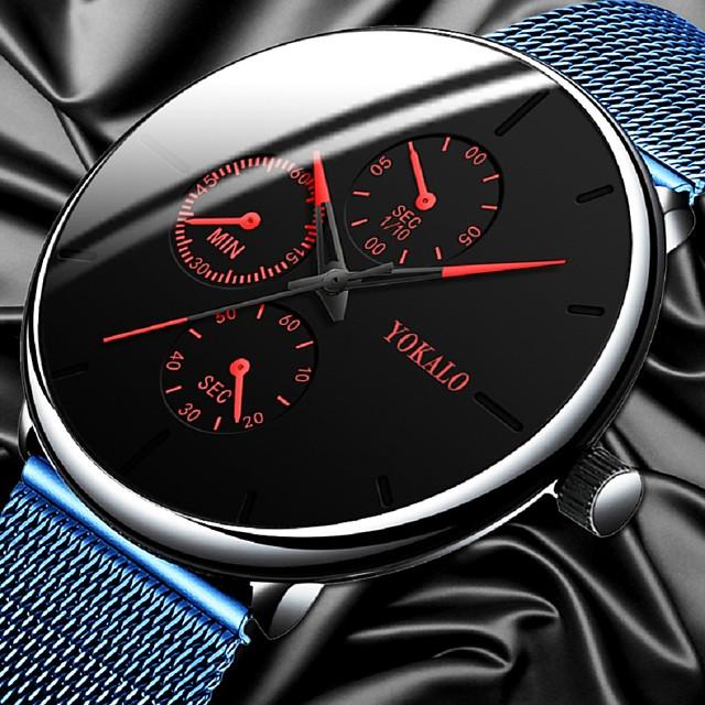 Муж. Нарядные часы Кварцевый Стильные На каждый день Поддельные три глаза и шесть игл Аналоговый Черный + Gloden Красный + синий Синий / Один год / Титановый сплав