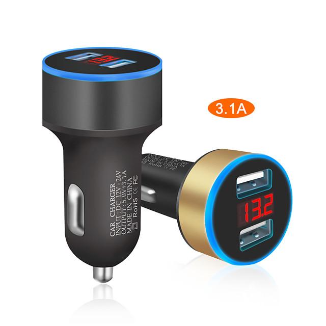 caricabatteria per auto 5 v 3.1a con display a led universale doppio accendisigari per auto per xiaomi samsung s8 iphone x 8 plus tablet ecc