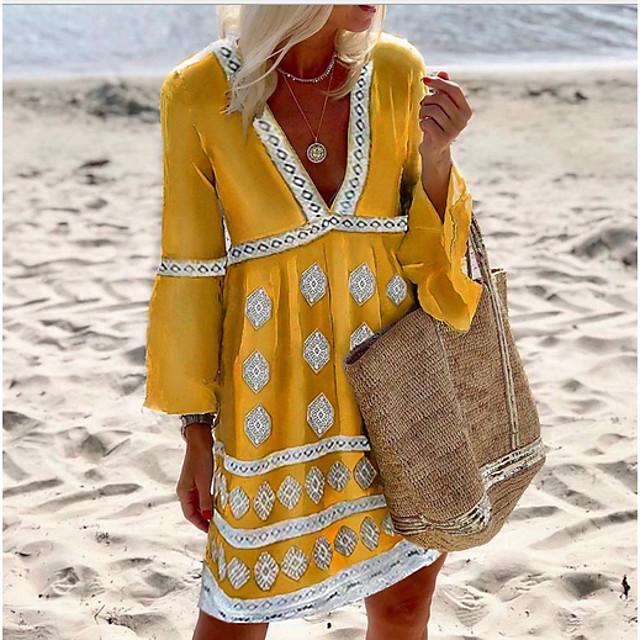 여성용 시프트 드레스 옐로우 3/4 길이 소매 한 색상 V 넥 S M L XL XXL