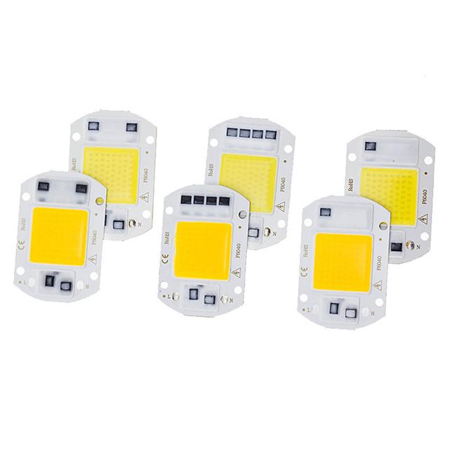 6pcs ha condotto il chip della pannocchia 20w 220v ic intelligente senza bisogno di driver lampadina a led per illuminazione riflettore faretto luce di inondazione