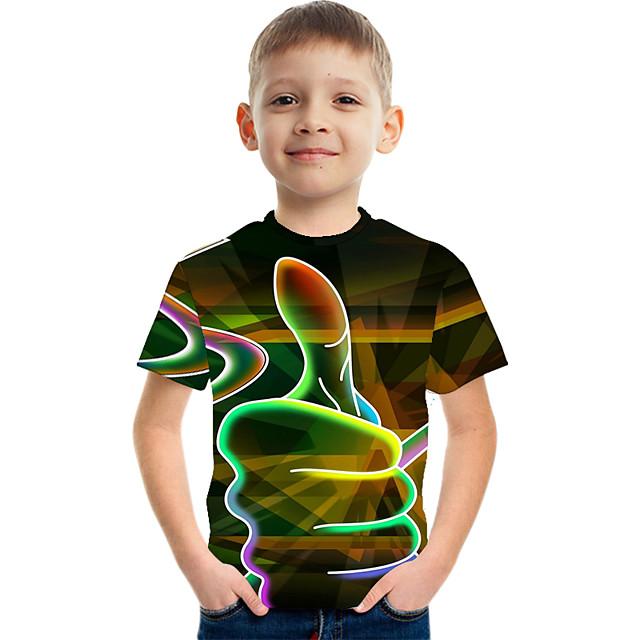 Enfants Garçon T-shirt Tee-shirts Manches Courtes Bloc de Couleur 3D Unisexe Imprimé Enfants Le Jour des enfants Eté Hauts basique Simple Blanche Rouge Orange 2-12 ans