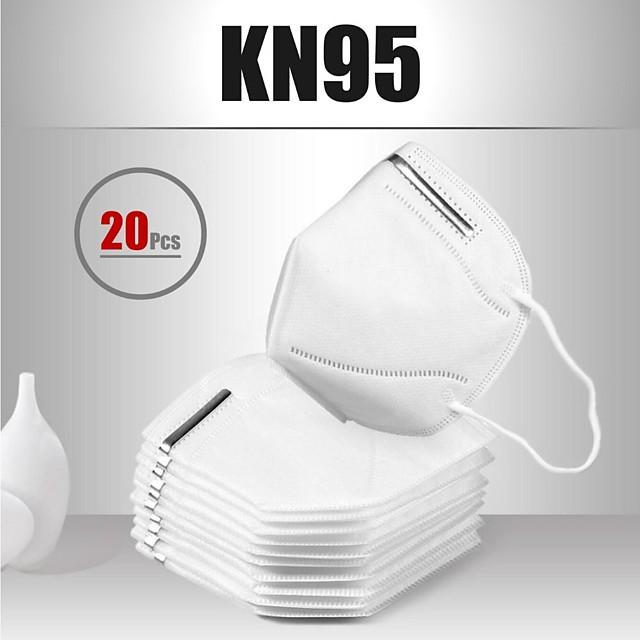 20 pcs KN95 Couvre-visage Masque Respirateur Protection Tissu non-tissé Meltblown Haute Qualité Femme Homme Blanche / Efficacité de filtration (PFE)> 95%