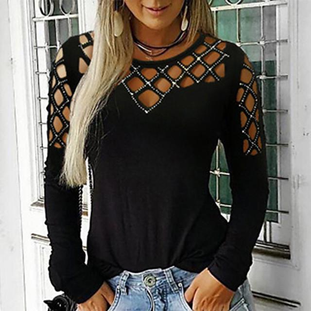 여성용 T 셔츠 솔리드 긴 소매 라운드 넥 탑스 베이직 기본 탑 블랙 퍼플 와인