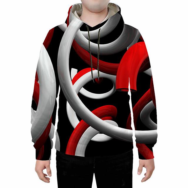 Voor heren Grote maten Sweatshirt met capuchon Abstract 3D Capuchon Dagelijks Uitgaan 3D-afdrukken 3D-print Informeel Hoodies Sweatshirts Donkergrijs