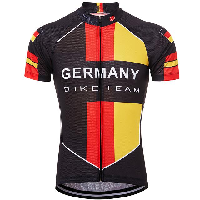 21Grams 독일 국기 남성용 짧은 소매 싸이클 져지 - 레드 / 옐로우 자전거 탑스 자외선 방지 통기성 빠른 드라이 스포츠 테릴린 산악 자전거 로드 사이클링 의류 / 약간의 신축성 / 애슬레저 / 모니스처 위칭