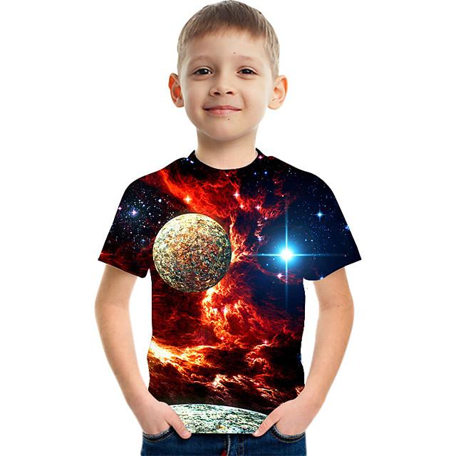 Bambino Da ragazzo maglietta T-shirt Manica corta Spazio Stampa 3D Pop art Monocolore Girocollo Asciugatura rapida Unisex Blu Viola Rosso Bambini Top Estate Essenziale Casuale Innovativo Giornata