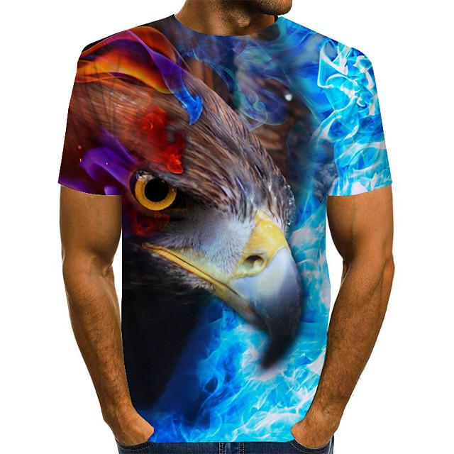 남성용 T 셔츠 3D 짧은 소매 일상 탑스 베이직 레인보우