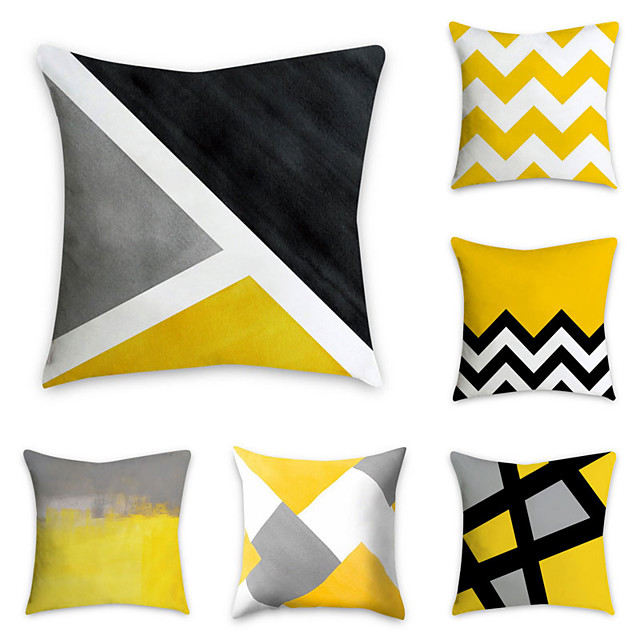Set of 6 Polyester Pillow Cover, Geometric Pattern Graphic Prints Simple Classic Square Traditional Classic Throw Pillow