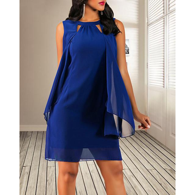 Femme Robe Fourreau Mini robe Courte Sans Manches Couleur Pleine Bleu Marine S M L XL XXL 3XL 4XL 5XL