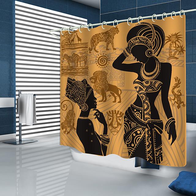 ستائر الدش تصميم جديد الأفريقية المرج عناصر الرقمية المطبوعة دش الستار
