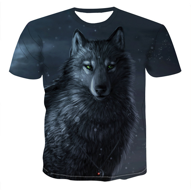 Homme T-shirt Chemise 3D Animal Imprimé Manches Courtes Quotidien Hauts Chic de Rue Exagéré Col Rond Arc-en-ciel
