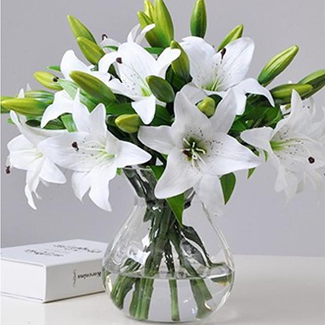 1pcs 인공 백합 인공 꽃 홈 거실 장식 디스플레이 꽃 37cm