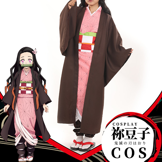 Innoittamana Demon Slayer: Kimetsu no Yaiba Cosplay Kamado Nezuko Anime Cosplay-asut Japani Takki Alusvaate Vyö Käyttötarkoitus Naisten / Headwear / Nauha / Headwear / Nauha