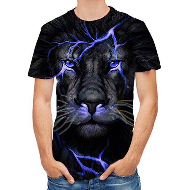 Męskie Podkoszulek Graficzny 3D Zwierzę Nadruk Najfatalniejszy Czarny