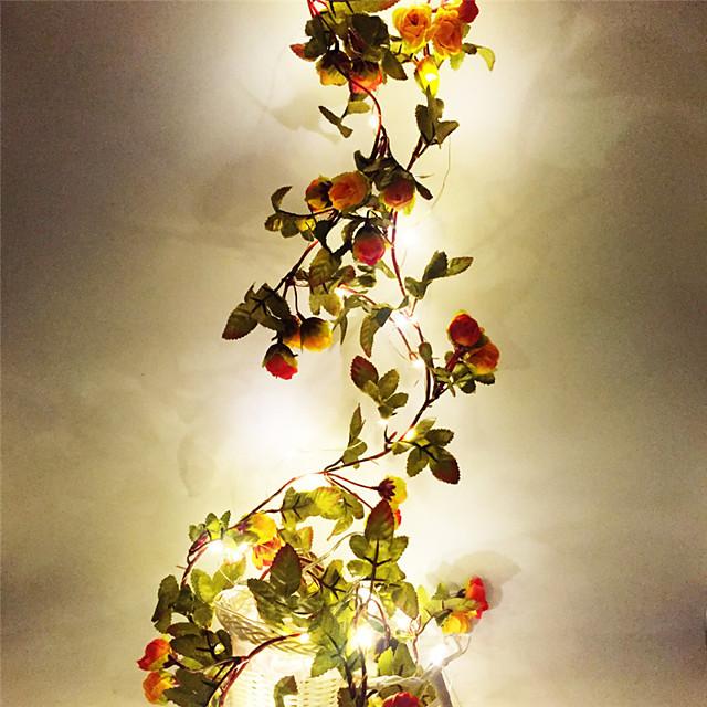 2m Fili luminosi 20 LED SMD 0603 1pc Bianco caldo Natale Capodanno Feste Decorativo Matrimonio Batterie AA alimentate
