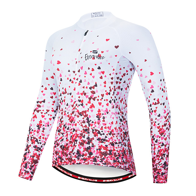 EVERVOLVE Women's Long Sleeve Cycling Jersey Polyester Pink Heart Gradient Geometic Bike Jersey Top Mountain Bike MTB Road Bike Cycling Breathable Quick Dry Sports Clothing Apparel / Advanced