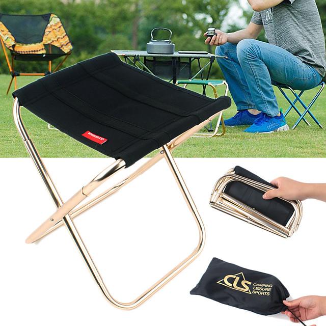 Kamperski stolac Prijenosno Mala težina Mini Može se sklopiti Oxford tkanje Aluminijska legura za 1 osoba Ribolov Kampiranje Putovanje Pasti Proljeće Crn