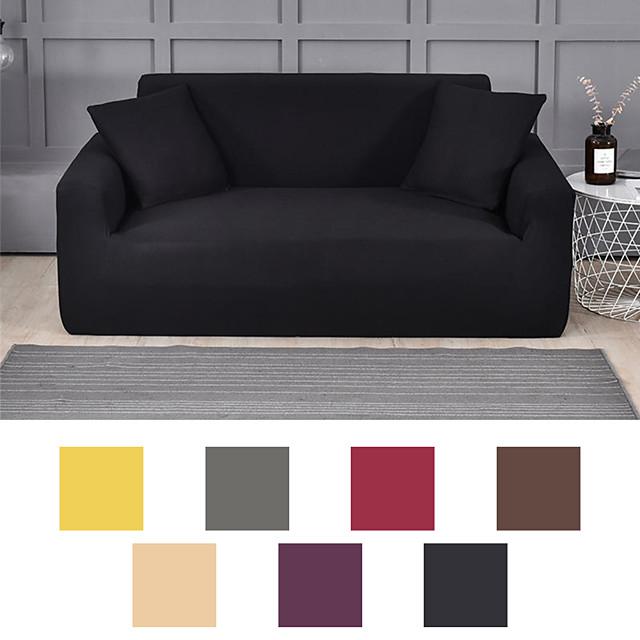 소파 커버 가구 보호대 솔리드 컬러 소프트 스트레치 슬립 커버 적합 안락 의자 / 이인용 좌석 / 3 인승 / 4 인승 / L 형 소파 설치가 용이함