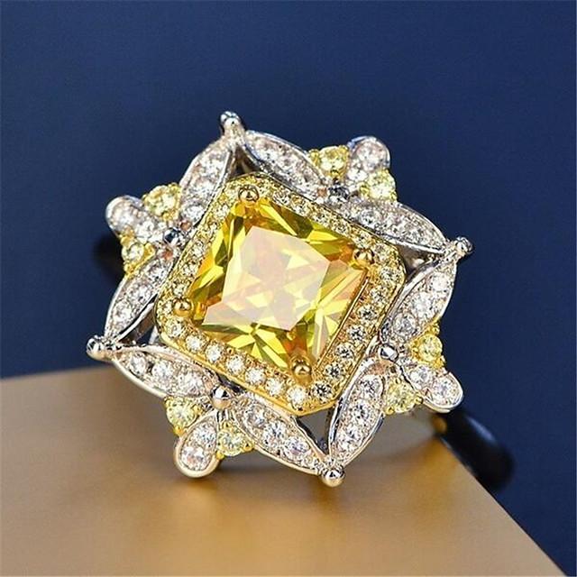 خاتم مكعب زركونيا كلاسيكي ذهبي مطلية بالذهب تقليد الماس وردة أنيق 1PC 7 8 9 / نسائي