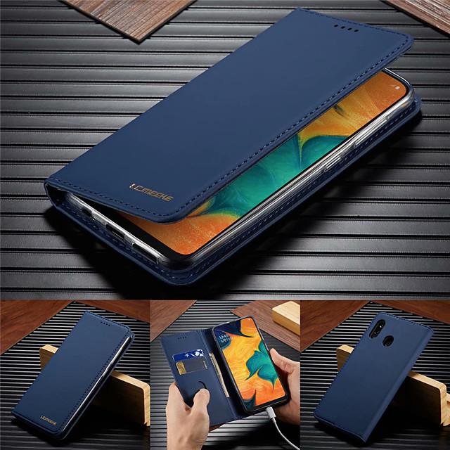 telefono Custodia Per Samsung Galaxy Integrale Custodia in pelle Porta carte di credito A50 A20 A71 A portafoglio Porta-carte di credito Con supporto Tinta unita vera pelle TPU