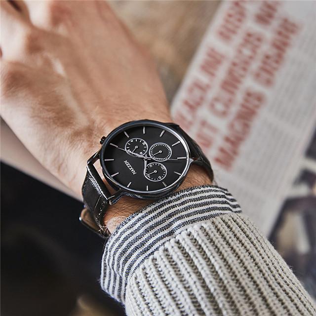 Муж. Нарядные часы Кварцевый Мода Защита от влаги Аналоговый Белый + синий Черный / Один год / Нержавеющая сталь / Натуральная кожа / Японский / Натуральная кожа