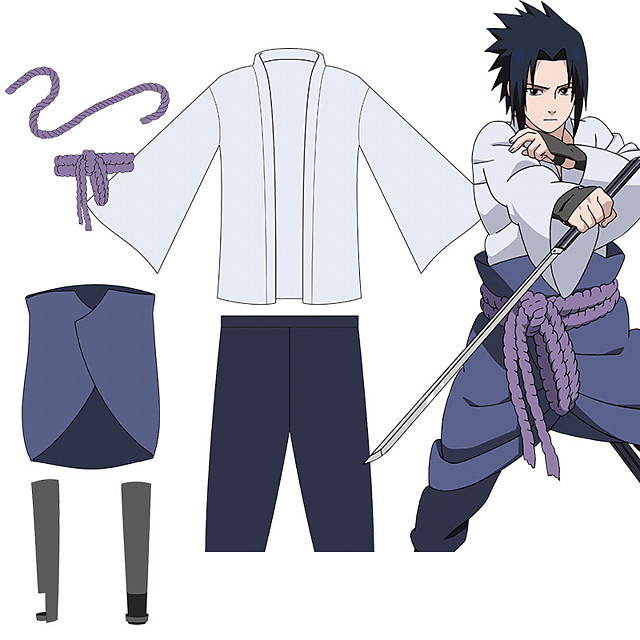 Inspired by Naruto Uchiha Sasuke Anime Cosplay Costumes Japanese Outfits Top Pants Rope For Men's Women's / Wrist Brace