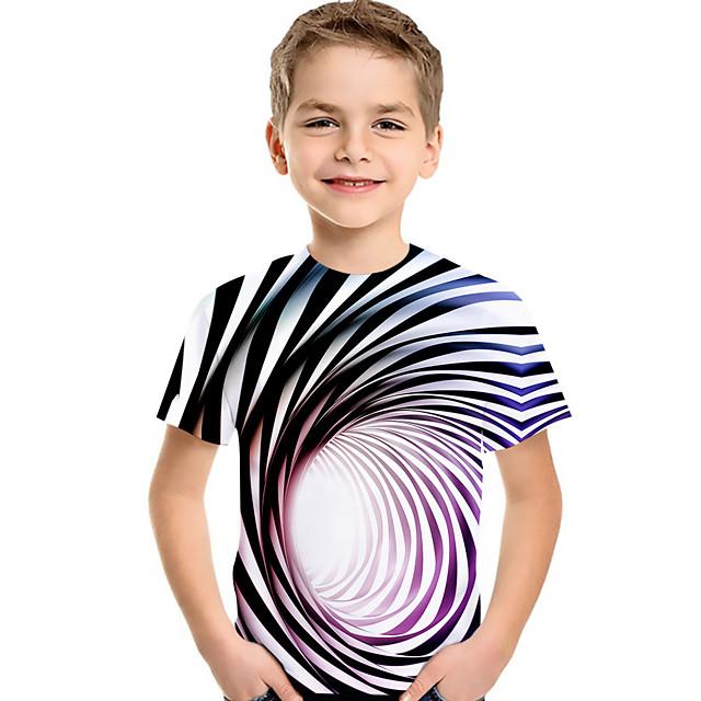 Kids Toddler Boys' T shirt Tee Short Sleeve Blue & White Striped Geometric 3D Print Children Children's Day Summer Tops Active Basic Purple Red Green