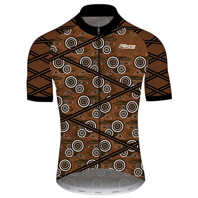 21Grams 남성용 짧은 소매 싸이클 져지 스판덱스 브라운 + 그레이 자전거 져지 탑스 산악 자전거 로드 사이클링 자외선 방지 빠른 드라이 통기성 스포츠 의류 / 스트레치