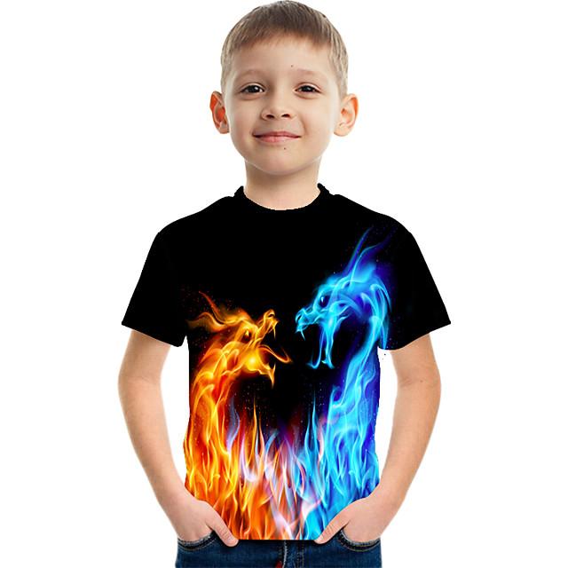 Enfants Garçon T-shirt Tee-shirts Manches Courtes Dragon Impression 3D Graphique Flamme Casual Enfants Pâques Eté Hauts Actif Chic de Rue Jaune Rouge Arc-en-ciel 3-12 ans