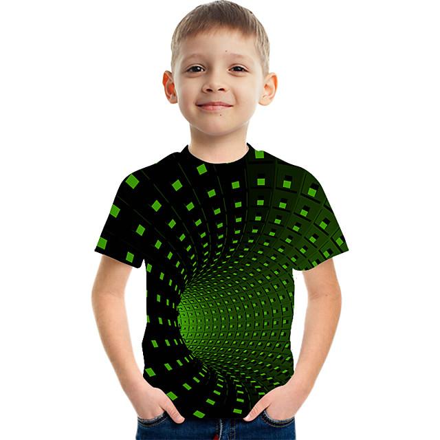أطفال للصبيان تي شيرت كنزة مطبوعة كم قصير ألوان متناوبة 3D طباعة أطفال عيد الأطفال الصيف قمم نشيط أناقة الشارع أخضر