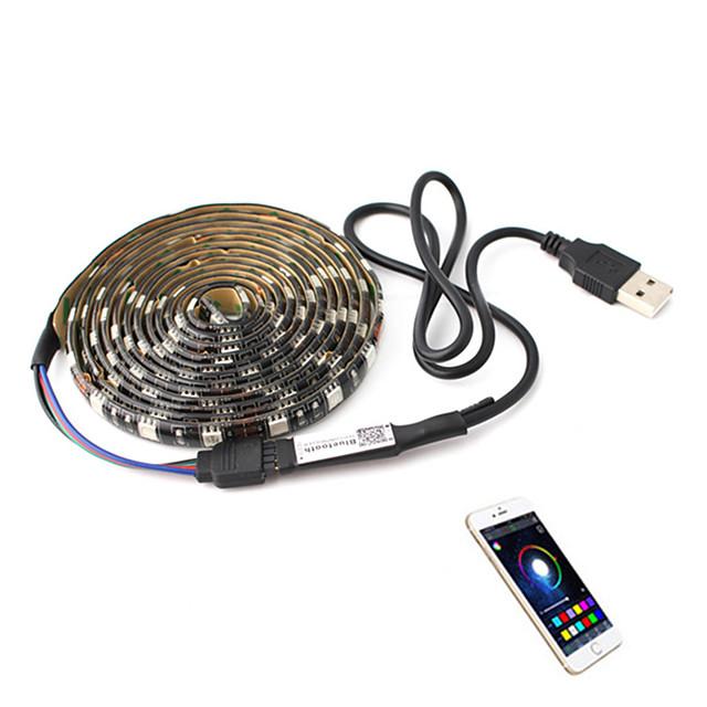 1m Φωτολωρίδες RGB Έξυπνα φώτα 30 LEDs SMD5050 6mm 1set RGB Halloween Χριστούγεννα Αδιάβροχη Αυτοκόλλητο Τηλεοπτικό υπόβαθρο 5 V Τροφοδοτείται μέσω USB