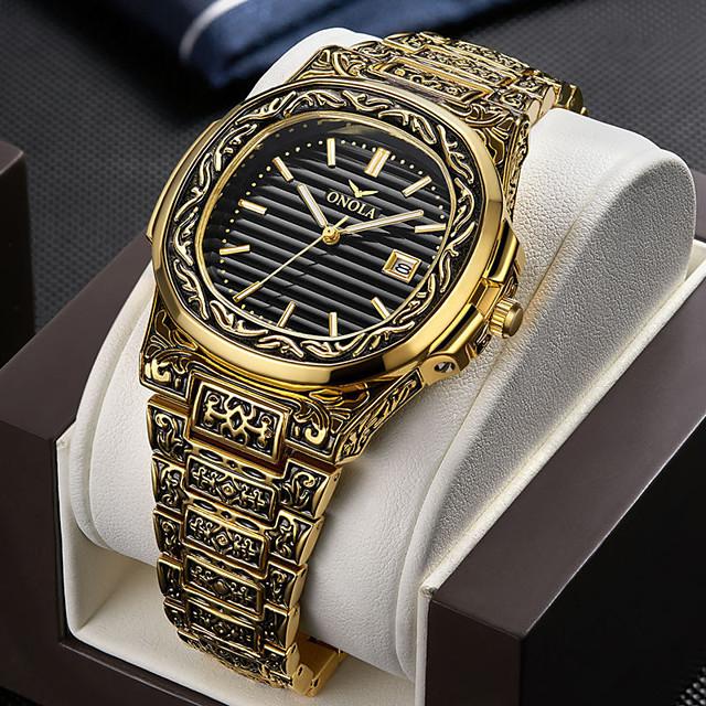 สำหรับผู้ชาย นาฬิกาตกแต่งข้อมือ นาฬิกาอิเล็กทรอนิกส์ (Quartz) สไตล์วินเทจ วินเทจ กันน้ำ ระบบอนาล็อก สีดำ+สีเงิน สีดำ+สีทอง ขาว+ทอง / หนึ่งปี / ไทเทเนี่ยมอัลลอย