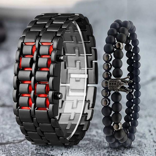Herre Digital Watch Digital Moderne Stil Elegant Klassisk LCD Digital Rød+Sølv Svart Rød / Ett år / Rustfritt stål