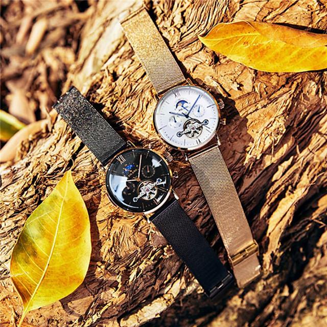 Pánské mechanické hodinky Automatické natahování Módní Voděodolné Analogové černá + zlatá bílá + zlatá Černá / Jeden rok / Nerez / Kalendář / Svítící / Fáze Měsíce
