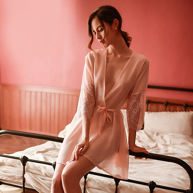 여성용 컷 아웃 메쉬 레이스 가운 수트 잠옷 자카드 솔리드 블러슁 핑크 원사이즈