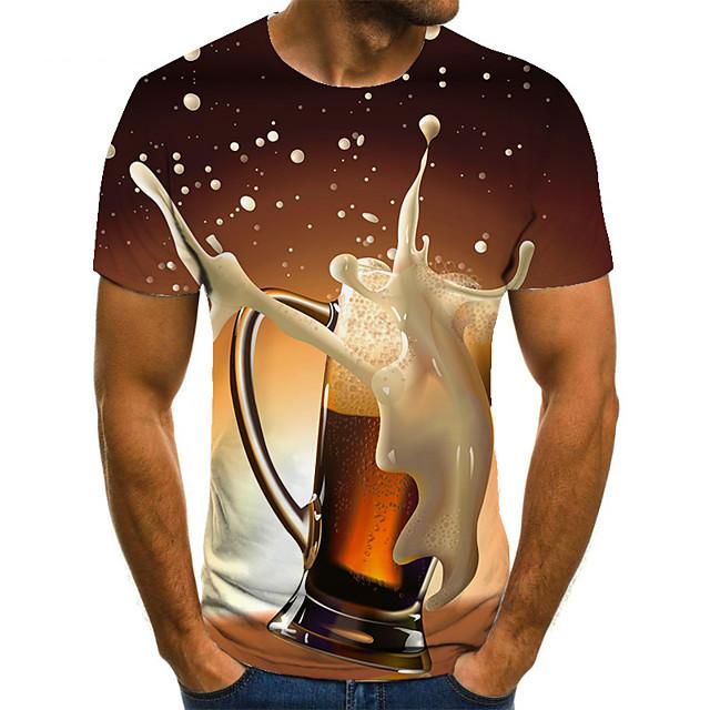 Per uomo maglietta Pop art Birra Taglie forti Con stampe Manica corta Quotidiano Top Essenziale Moda città Viola Rosso Giallo