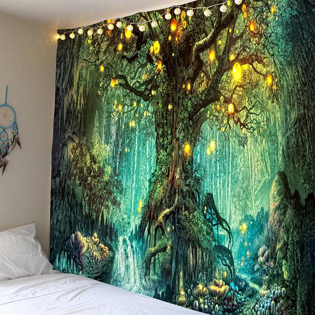 tapisserie murale art décor couverture rideau pique-nique nappe suspendu maison chambre salon dortoir décoration fantaisie arbre forêt paysage