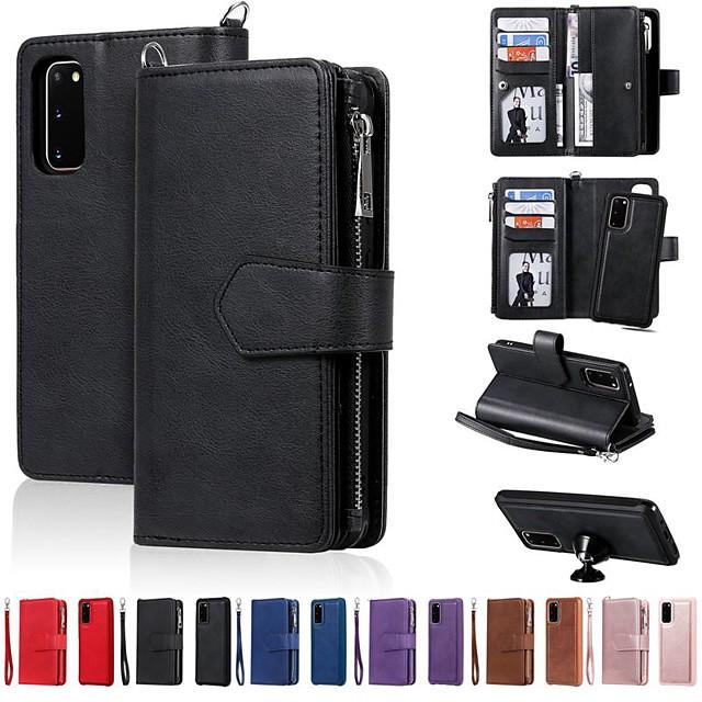 غطاء من أجل Samsung Galaxy Note 9 / Note 8 / Galaxy S10 محفظة / حامل البطاقات / مع حامل غطاء كامل للجسم لون سادة جلد PU