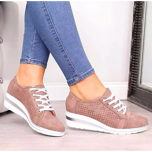 Women's Sneakers Wedge Heel Open Toe Daily PU Black Blue Pink