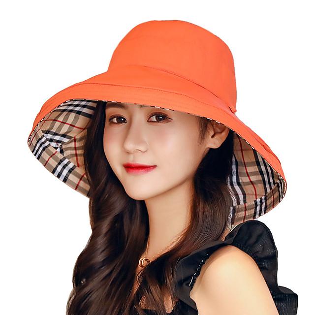 여성용 햇빛 차단용 모자 낚시 모자 어부의 모자 하이킹 모자 1개 와이드 브림 겨울 집 밖의 휴대용 선크림 자외선 방지 빠른 드라이 모자 한 색상 면 옐로우 레드 핑크 용 캠핑 & 하이킹 수렵 피싱 / 통기성